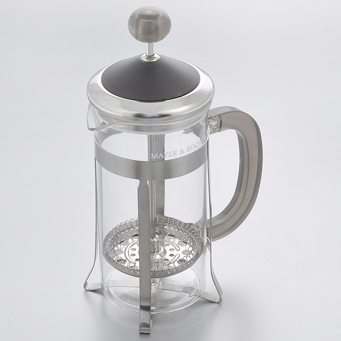 """Френч-пресс """"Mayer & Boch"""" изготовлен из термостойкого стекла с металлическими вставками. Крышка и ручка выполнены из пластика серого цвета. Изделие очень просто и легко использовать как для приготовления кофе, так и чая. Настоянный в таком чайнике напиток получается заваристым и ароматным.    Характеристики:   Материал: пластик, стекло, нержавеющая сталь. Объем: 350 мл. Размер основания: 7 см х 6,5 см. Диаметр по верхнему краю: 7 см. Высота (с учетом крышки): 18,5 см. Размер упаковки: 11 см х 9,5 см х 19 см. Артикул: 21255."""