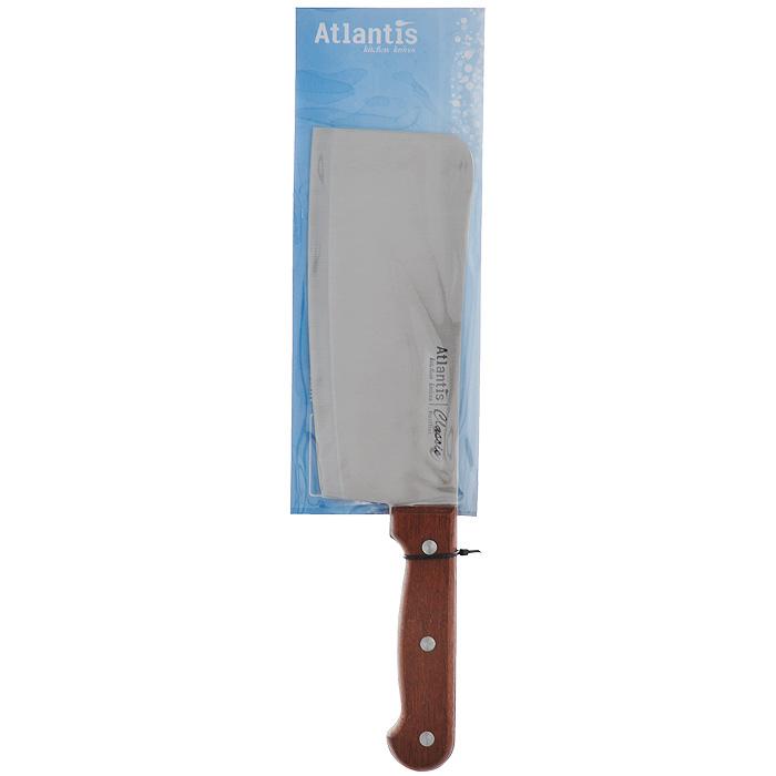 Нож Atlantis Classic, разделочный, длина лезвия 18 см24705-SKНож разделочный Atlantis Classic изготовлен из высококачественной стали. Рукоятка, выполненная из пластика с оформлением под дерево, удобно лежит в руке, не скользит и делает резку удобной и безопасной.Практичный и функциональный нож Atlantis Classic займет достойное место среди аксессуаров на вашей кухне. Характеристики:Материал: сталь, пластик. Общая длина ножа: 29,5 см. Длина лезвия: 18 см. Ширина лезвия: 7 см. Размер упаковки: 38,5 см х 9,5 см х 2 см. Артикул: 24705-SK.