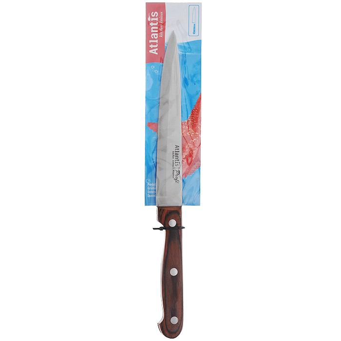 Нож Atlantis Classic, для нарезки, длина лезвия 16,5 см24419-SKНож Atlantis Classic изготовлен из высококачественной стали ручной заточки. Благодаря узкому острому лезвию с особой формой режущей кромки, такой нож прекрасно подойдет для нарезки фруктов, овощей и мяса. Рукоятка, выполненная из пластика с оформлением под дерево, удобно лежит в руке, не скользит и делает резку удобной и безопасной.Практичный и функциональный нож Atlantis Classic займет достойное место среди аксессуаров на вашей кухне. Характеристики:Материал: сталь, пластик. Общая длина ножа: 28,5 см. Длина лезвия: 16,5 см. Ширина лезвия: 2,5 см. Размер упаковки: 34,5 см х 6 см х 2 см. Артикул: 24419-SK.