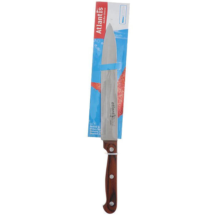 Нож Atlantis Classic, для нарезки, длина лезвия 19 см24413-SKНож Atlantis Classic изготовлен из высококачественной стали ручной заточки. Благодаря узкому острому лезвию с особой формой режущей кромки, такой нож прекрасно подойдет для нарезки фруктов, овощей и мяса. Рукоятка, выполненная из пластика с оформлением под дерево, удобно лежит в руке, не скользит и делает резку удобной и безопасной.Практичный и функциональный нож Atlantis Classic займет достойное место среди аксессуаров на вашей кухне. Характеристики:Материал: сталь, пластик. Общая длина ножа: 31 см. Длина лезвия: 19 см. Ширина лезвия: 2,7 см. Размер упаковки: 38 см х 6,5 см х 2 см. Артикул: 24413-SK.