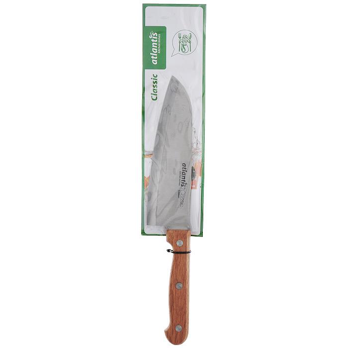 Нож Atlantis Classic, поварской, длина лезвия 15 см24714-SKНож Atlantis Classic изготовлен из высококачественной нержавеющей стали стали. Благодаря лезвию с особой формой режущей кромки, такой нож прекрасно подойдет для очистки, разделки и нарезки фруктов, овощей и мяса. Рукоятка, выполненная из пластика с оформлением под дерево, удобно лежит в руке, не скользит и делает резку удобной и безопасной.Практичный и функциональный нож Atlantis Classic займет достойное место среди аксессуаров на вашей кухне. Характеристики:Материал: сталь, пластик. Общая длина ножа: 28 см. Длина лезвия: 15 см. Ширина лезвия: 4,5 см. Размер упаковки: 38,5 см х 7 см х 2 см. Артикул: 24714-SK.