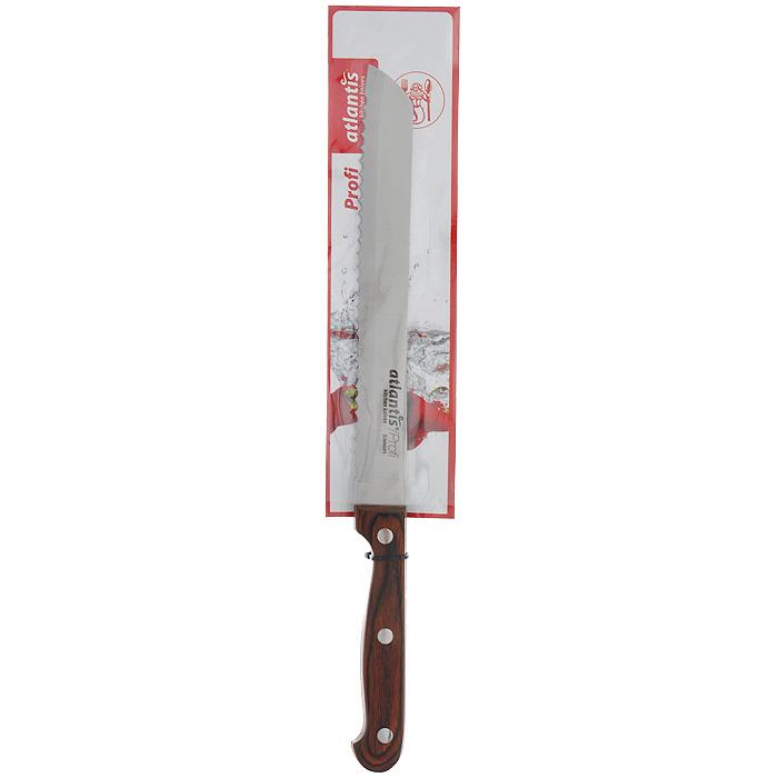 Нож Atlantis Profi, для хлеба, длина лезвия 20 см24403-SKНож для хлеба Atlantis Profi изготовлен из высококачественной стали специальной заточки. Благодаря острому лезвию с особой формой режущей кромки, такой нож прекрасно подойдет для нарезки хлеба. Рукоятка, выполненная из пластика с оформлением под дерево, удобно лежит в руке, не скользит и делает резку удобной и безопасной.Практичный и функциональный нож Atlantis Profi займет достойное место среди аксессуаров на вашей кухне. Характеристики:Материал: сталь, пластик. Общая длина ножа: 32 см. Длина лезвия: 20 см. Размер упаковки: 37,5 см х 6,5 см х 2 см. Артикул: 24403-SK.