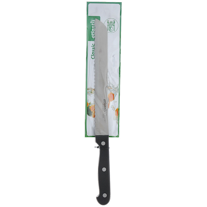 Нож Atlantis Classic, для хлеба, длина лезвия 20 см24302-SKНож Atlantis Classic изготовлен из высококачественной стали специальной заточки. Благодаря острому лезвию с особой формой режущей кромки, такой нож прекрасно подойдет для нарезки хлеба. Рукоятка, выполненная из пластика, удобно лежит в руке, не скользит и делает резку удобной и безопасной.Практичный и функциональный нож Atlantis Classic займет достойное место среди аксессуаров на вашей кухне. Характеристики:Материал: сталь, пластик. Общая длина ножа: 32 см. Длина лезвия: 20 см. Ширина лезвия: 2,2 см. Размер упаковки: 37,5 см х 6,5 см х 2 см. Артикул: 24302-SK.