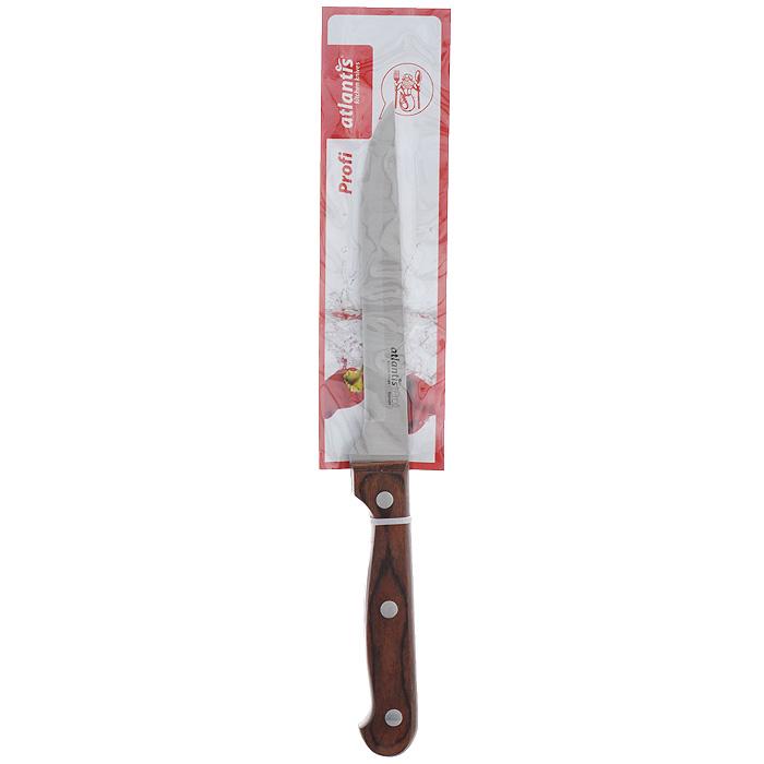Нож Atlantis Profi, обвалочный, длина лезвия 15 см24407-SKНож обвалочный Atlantis Profi изготовлен из высококачественной стали. Рукоятка, выполненная из пластика с оформлением под дерево, удобно лежит в руке, не скользит и делает резку удобной и безопасной.Практичный и функциональный нож Atlantis Profi займет достойное место среди аксессуаров на вашей кухне. Характеристики:Материал: сталь, пластик. Общая длина ножа: 26,5 см. Длина лезвия: 15 см. Размер упаковки: 33,5 см х 6 см х 1,7 см. Артикул: 24407-SK.