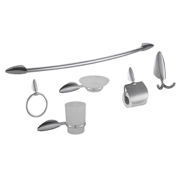 Набор аксессуаров для ванны Mayer & Boch, 6 предметов. 2130921309Набор аксессуаров для ванны Mayer & Boch состоит из крючка для банного халата, держателя стакана, мыльницы, держателя туалетной бумаги, кольца для полотенца и вешалки для полотенца. Аксессуары изготовлены из нержавеющей стали, стакан и мыльница - из утолщенного матового стекла. Все части комплекта подходят для любых видов систем, просты в установке и эксплуатации. Наслаждайтесь ванной комнатой с современным комплектом аксессуаров Mayer & Boch. В комплекте - крепежные элементы. Характеристики: Материал: стекло, металл. Размер упаковки: 61 см х 22 см х 8 см. Артикул: 21309.