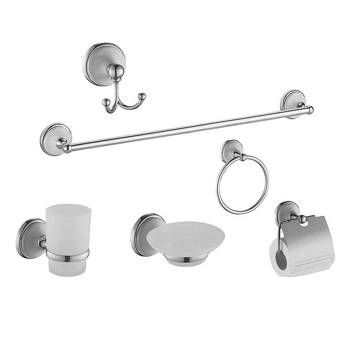 Набор аксессуаров для ванны Mayer & Boch, 6 предметов. 2130821308Набор аксессуаров для ванны Mayer & Boch состоит из крючка для банного халата, держателя стакана, мыльницы, держателя туалетной бумаги, кольца для полотенца и вешалки для полотенца. Аксессуары изготовлены из нержавеющей стали, стакан и мыльница - из утолщенного матового стекла. Все части комплекта подходят для любых видов систем, просты в установке и эксплуатации. Наслаждайтесь ванной комнатой с современным комплектом аксессуаров Mayer & Boch. В комплекте - крепежные элементы. Характеристики: Материал: стекло, металл. Размер упаковки: 61 см х 22 см х 8 см. Артикул: 21308.