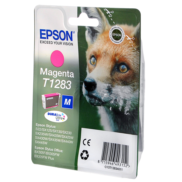 Epson T1283 (C13T12834012), Magenta картридж для S22/SX125/SX425/BX305C13T12834012Картридж Epson с чернилами для струйной печати.