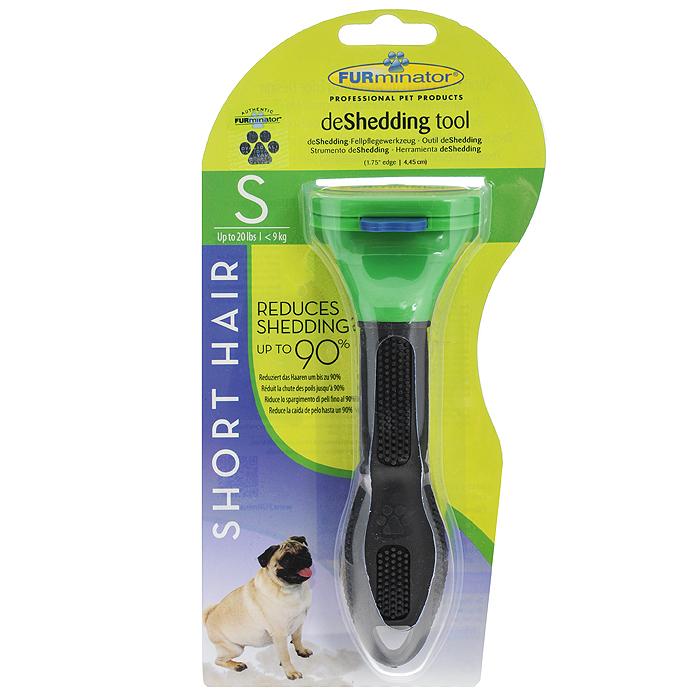 Фурминатор для короткошерстных собак мелких пород FURminator, длина лезвия 4,5 см112082Фурминатор FURminator специально разработан профессиональными грумерами для короткошерстных собак мелких пород от 5 кг до 9 кг с шерстью длиной до 5 см. Это удивительно простой и максимально эффективный инструмент. Конструкция лезвия расчески, выполненного из нержавеющей стали, быстро и аккуратно удаляет отмерший подшерсток. За несколько сеансов (2-4) легко вычесывается до 90% отмерших волосков, и линька проходит менее заметно. Безопасен и эффективен, не режет шерсть, мягко выдергивает мертвый подшерсток, не повреждая гладкий остевой волос. Кнопка FURejector легко очищает шерсть с инструмента. Эргономичная ручка из резины обеспечивает надежный хват и более удобное использование. Вы забудете о спутанной шерсти, проблеме колтунов, о массе подшерстка, который остается на мебели, одежде и на полу. При постоянном применении значительно снижает риск аллергии на домашних животных. Характеристики: Материал: нержавеющая сталь, пластик, резина.Цвет: зеленый, черный.Длина лезвия: 4,5 см.Общая длина прибора: 15 см.Размер упаковки: 12 см х 23 см х 8 см.
