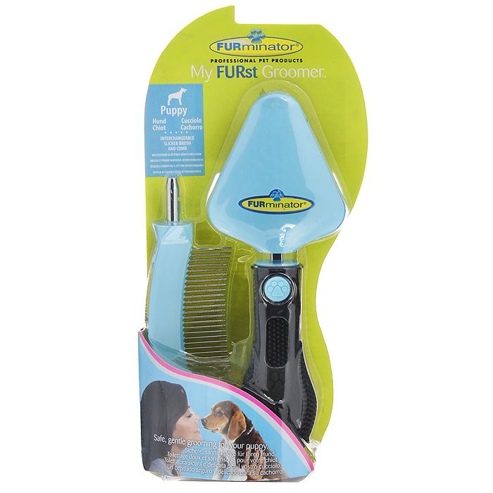 Фурминатор для щенка FURminator My FURst Groomer, 2 предмета113690Фурминатор для щенка FURminator My FURst Groomer - это удобный и эффективный прибор, который имеет две насадки: сликер (пуходерка) и расческа (гребень). Прибор мягко убирает отмерший подшерсток, сохраняет здоровье шерсти животного, не повреждая остевой волос. Съемный сликер и расческа безопасны и легки в применении. Эргономичная ручка из резины обеспечивает надежный хват и более удобное использование. Характеристики: Материал: металл, пластик, резина.Цвет: голубой, черный.Размер рабочей поверхности сликера: 6 см х 7 см.Длина рабочей поверхности гребня: 7 см.Размер упаковки: 11,5 см х 23 см х 4,5 см.