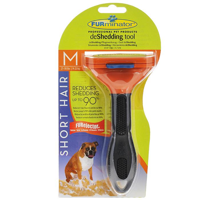 Фурминатор для короткошерстных собак средних пород FURminator, длина лезвия 7 см фурминатор для собак короткошерстных пород furminator short hair large dog