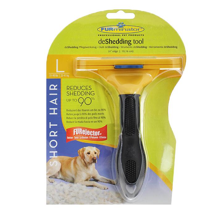 Фурминатор для короткошерстных собак крупных пород FURminator, длина лезвия 10 см насадка фурминатор для собак крупных пород furminator с ручкой длина лезвия 10 3 см