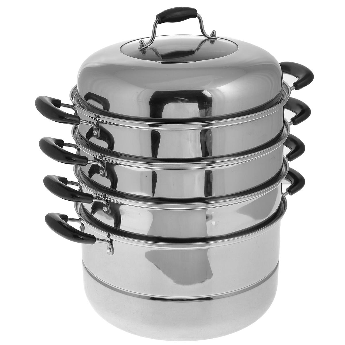 """Четырехъярусная мантоварка """"Mayer & Boch"""" изготовлена из нержавеющей стали  с зеркальной полировкой.  Изделие состоит из основной емкости-кастрюли, трех секций с отверстиями,  сетки и крышки. Специальный  многоуровневый дизайн позволяет готовить до четырех различных блюд  одновременно. Идеально подходит  для национальных блюд как манты, котлеты, овощи, пельмени на пару и многое  другое.  Блюда, приготовленные на пару, являются самыми здоровыми и полезными, так  как при их приготовлении не  используется масло и жир. Они сохраняют все питательные вещества и  витамины.  Мантоварка оснащена удобными ручками из бакелита черного цвета. Крышка из  нержавеющей стали оснащена стеклянным окошком и бакелитовой ручкой.   Подходит для газовых, электрических, стеклокерамических плит. Можно мыть в  посудомоечной машине. Объем кастрюли: 10,4 л. Диаметр: 30 см. Общая высота (в собранном виде, без учета крышки): 34 см. Диаметр основания: 26,5 см."""