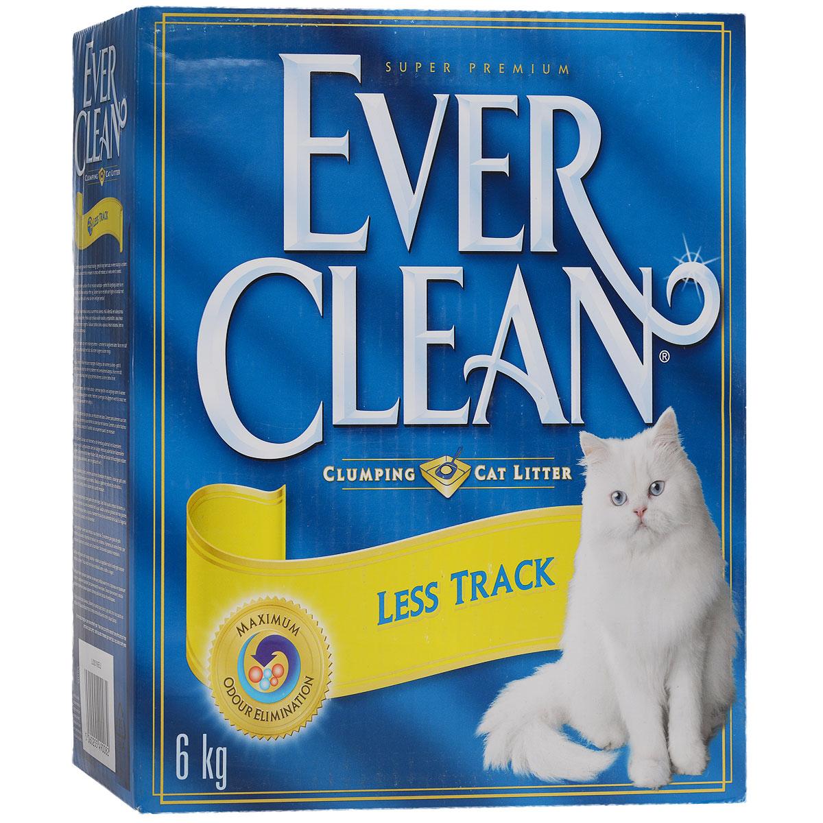 """Наполнитель для кошачьего туалета Ever Clean """"Less Track"""", комкующийся, для длинношерстных кошек, 6 кг"""