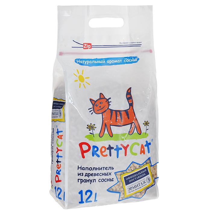 Наполнитель для кошачьих туалетов Pretty Cat Wood Granules, древесный, 12 л наполнитель для кошачьих туалетов кошкин секрет древесный 2 5 кг