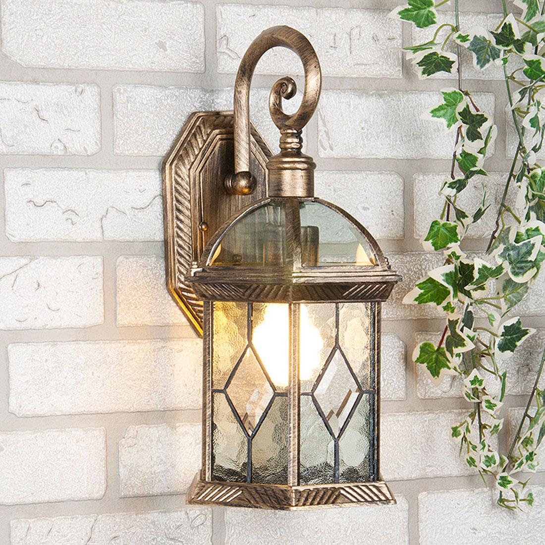 Уличный светильник Elektrostandard Fenix настенный черное золотоa024679