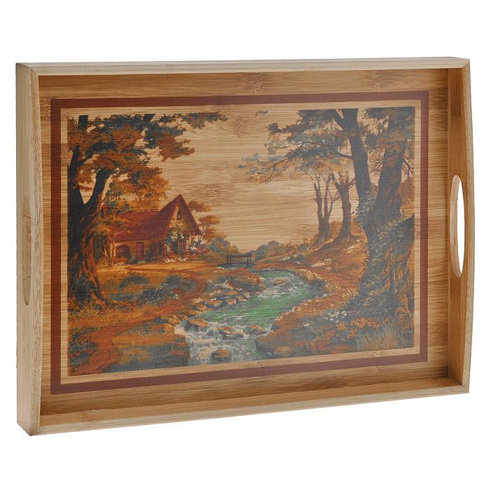 Поднос деревянный Amadeus, с декором, 45 х 33 х 5 см подставка под горячее amadeus цвет золотистый 43 см х 28 5 см 28hz 9051