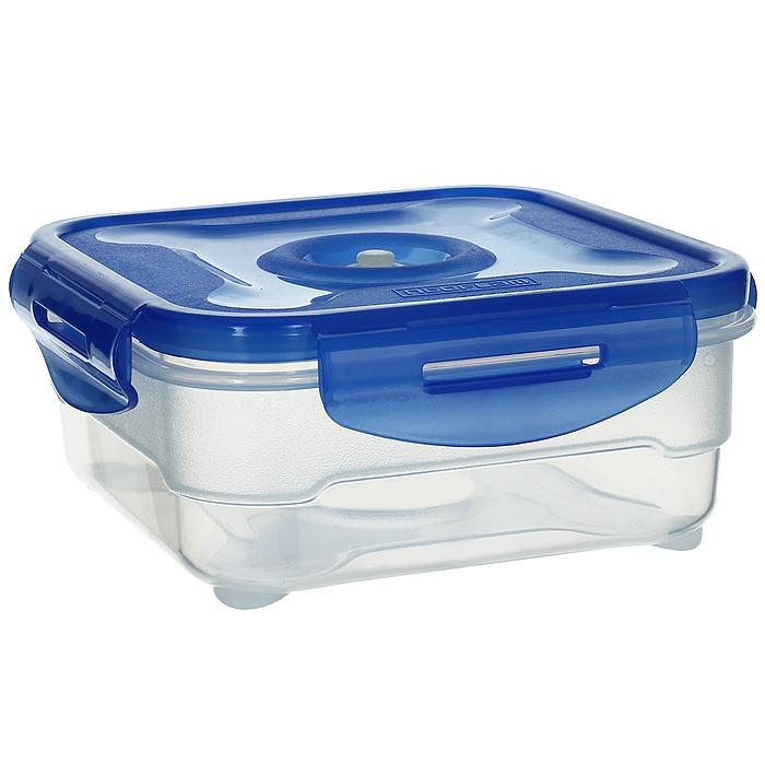 Контейнер вакуумный для пищевых продуктов Atlantis, цвет: синий, 0,8 лVS2R-51Контейнер Atlantis квадратной формы предназначен для хранения пищевых продуктов. Контейнер изготовлен из пищевого пластика, в состав которого включена антибактериальная добавка Microban. Microban, встроенный в структуру пластика, препятствует размножению микроорганизмов, уничтожает до 99,6% бактерий, находящихся на поверхности изделия.Сила межмолекулярных связей внутри полимера удерживает антисептик на поверхности и он не распространяется в сохраняемый продукт.Не изменяет вкусовых свойств хранимых в контейнере продуктов, препятствует размножению болезнетворных бактерий, сохраняет антибактериальные свойства в течение всего срока использования контейнера.Продукты сохраняются свежими дольше, чем в обычных контейнерах.Позволяет предотвратить загрязнение и неприятный запах, вызываемый бактериями, грибком и плесенью. Продукты в вакуумном контейнере можно ставить в морозилку или разогреватьв микроволновой печи, не снимая при этом крышку контейнера.Состояние вакуума достигается в контейнере с помощью вакуумного насоса.Контейнер универсален, вы сможете хранить, замораживать, разогревать самыеразнообразные продукты. Характеристики:Материал: пластик. Объем контейнера: 0,8 л. Размер контейнера (с крышкой): 16 см х 16 см х 7 см. Артикул: VS2R-51.