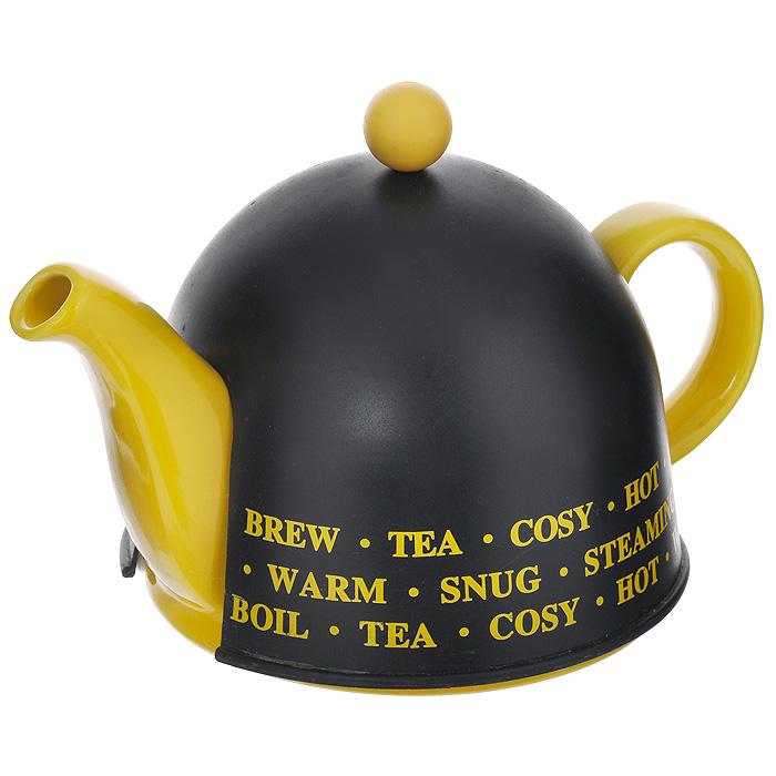 Чайник заварочный Mayer & Boch, с термоколпаком, цвет: желтый, черный, 500 мл. 2187421874Заварочный чайник Mayer & Boch изготовлен из высококачественной глазурованной керамики черного и желтого цветов. Чайник оснащен металлическим ситечком, удобной крышкой и ручкой. В комплекте - термо-колпак, выполненный из пластика белого цвета. Внутренняя поверхность колпака отделана теплосберегающей тканью. Колпак имеет специальные выемки для носика и ручки. Яркий стильный заварочный чайник эффектно украсит стол к чаепитию и станет его неизменным атрибутом.Диаметр чайника (по верхнему краю): 5 см.Диаметр основания чайника: 14 см.Высота чайника (без учета крышки): 9 см.Высота ситечка: 6 см.Высота колпака: 12 см.
