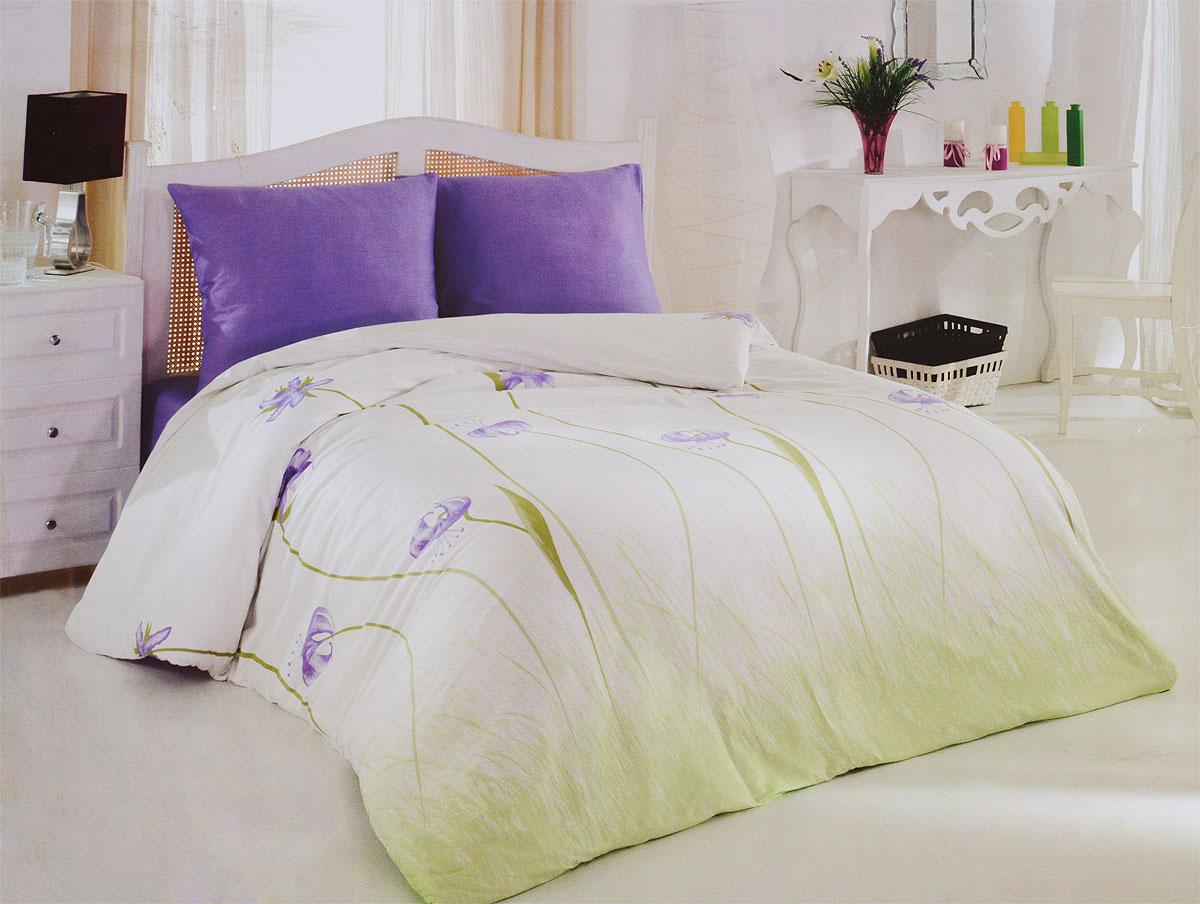 Комплект белья Tete-a-Tete Виола (Евро, сатин, наволочки 70х70), цвет: зеленый, сиреневыйТ-8064-03Комплект постельного белья Tete-a-Tete Виола является экологически безопасным для всей семьи, так как выполнен из натурального хлопка (сатина). Комплект состоит из простыни, пододеяльника и двух наволочек. Предметы комплекта оформлены изящным цветочным принтом.Сатин производится из высших сортов хлопка, а своим блеском, легкостью и на ощупь напоминает шелк. Такая ткань рассчитана на 200 стирок и более. Постельное белье из сатина превращает жаркие летние ночи в прохладные и освежающие, а холодные зимние - в теплые и согревающие. Благодаря натуральному хлопку, комплект постельного белья из сатина приобретает способность пропускать воздух, давая возможность телу дышать. Одно из преимуществ материала в том, что он практически не мнется, и ваша спальня всегда будет аккуратной и нарядной. Характеристики: Страна: Турция. Материал: сатин (100% хлопок). Размер упаковки: 29 см х 37 см х 7 см. В комплект входят:Пододеяльник - 1 шт. Размер: 200 см х 220 см. Простыня - 1 шт. Размер: 220 см х 240 см. Наволочка - 2 шт. Размер: 70 см х 70 см. Коллекция постельного белья Tete-a-Tete - российская новинка, выполненная в лучших европейских традициях из роскошного премиум-сатина (более плотного и мягкого по сравнению с обычным сатином). Потребительские качества постельного белья Tete-a-Tete обусловлены выбором материала для пошива. Компания использует 100% египетский хлопок для изготовления тканей. Качество красителей и ткани надолго позволяют сохранить яркость цветов.