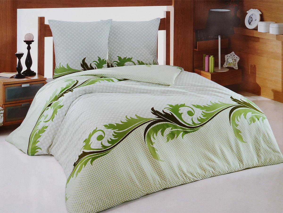 "Комплект белья Tete-a-Tete ""Изумруд"" (2-х спальный КПБ, сатин, наволочки 70х70), цвет: зеленый, белый"
