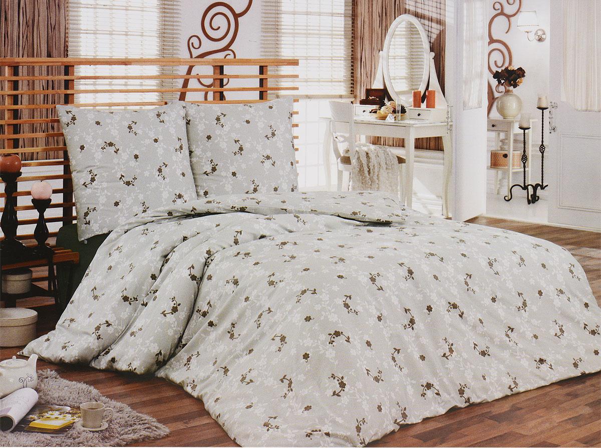 """Комплект белья Tete-a-Tete """"Консуэло"""" (2-х спальный КПБ, сатин, наволочки 70х70), цвет: коричневый, серый"""