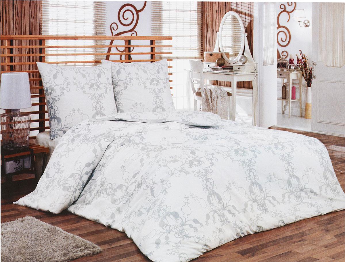 Комплект белья Tete-a-Tete Метель (1,5 спальный КПБ, сатин, наволочки 70х70), цвет: белый, серыйТ-8066-01Комплект постельного белья Tete-a-Tete Метель является экологически безопасным для всей семьи, так как выполнен из натурального хлопка (сатина). Комплект состоит из простыни, пододеяльника и двух наволочек. Предметы комплекта белого цвета оформлены изящным серым узором.Сатин производится из высших сортов хлопка, а своим блеском, легкостью и на ощупь напоминает шелк. Такая ткань рассчитана на 200 стирок и более. Постельное белье из сатина превращает жаркие летние ночи в прохладные и освежающие, а холодные зимние - в теплые и согревающие. Благодаря натуральному хлопку, комплект постельного белья из сатина приобретает способность пропускать воздух, давая возможность телу дышать. Одно из преимуществ материала в том, что он практически не мнется, и ваша спальня всегда будет аккуратной и нарядной.Рекомендации по уходу: - Стирка изделий с нейтральными моющими средствами в теплой воде при максимальной температуре 40°С (для темных тканей) и при температуре 60°С (для светлых тканей). - Не отбеливать. Не рекомендуется использовать хлоросодержащие моющие средства и стиральные порошки с отбеливателями. - Утюжить при средней температуре (до 150°С) через слегка увлажненную ткань или утюгом с пароувлажнителем. - Сушить при низкой температуре. - Не подвергать химчистке. Характеристики: Материал: сатин (100% хлопок). Цвет: белый, серый. Размер упаковки: 28 см х 37 см х 6,5 см. В комплект входят:Пододеяльник - 1 шт. Размер: 150 см х 215 см. Простыня - 1 шт. Размер: 160 см х 215 см. Наволочка - 2 шт. Размер: 70 см х 70 см. Коллекция постельного белья Tete-a-Tete - российская новинка, выполненная в лучших европейских традициях из роскошного премиум-сатина (более плотного и мягкого по сравнению с обычным сатином). Потребительские качества постельного белья Tete-a-Tete обусловлены выбором материала для пошива. Компания использует 100% египетский хлопок для изготовления тканей. Качество
