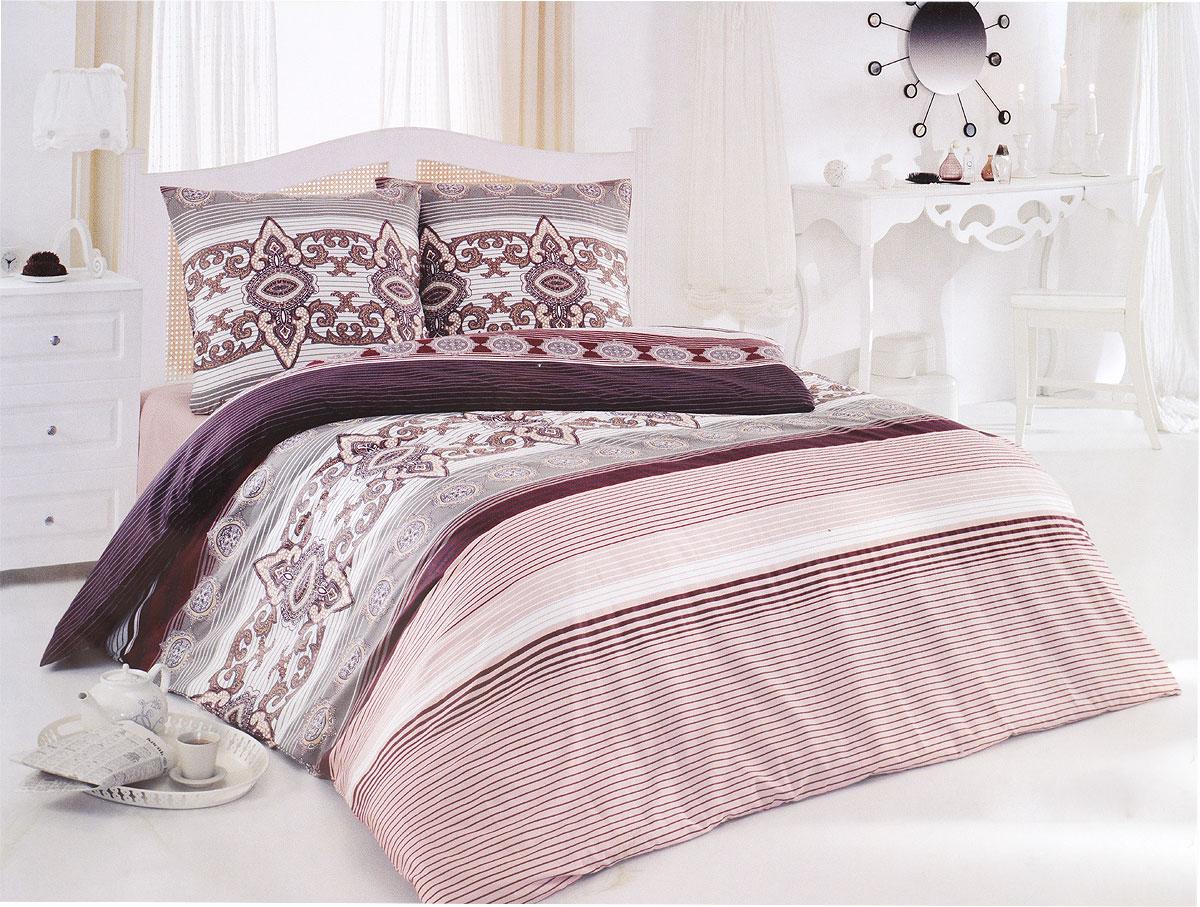 """Комплект белья Tete-a-Tete """"Щербет"""" (2-х спальный КПБ, сатин, наволочки 70х70), цвет: бордовый, светло-розовый"""