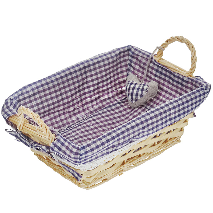 Корзинка для хлеба Premier Housewares, прямоугольная, цвет: фиолетовый, 25 х 18 х 13 см1901049Прямоугольная корзинка для хлеба Premier Housewares сплетена из лозы. На внутреннюю поверхность корзинки надет хлопковый чехол с рисунком в фиолетовую клетку, благодаря ему крошки не просыпаются на стол. Корзинка оснащена двумя удобными ручками и украшена декоративным элементом в виде сердечка.В холодный зимний день приятная цветовая гамма корзинки в сочетании с оригинальным дизайном навевают воспоминания о лете, тем самым способствуя улучшению настроения и полноценному отдыху. Характеристики:Материал: лоза, хлопок. Цвет: фиолетовый. Размер корзинки (с учетом ручек) (Д х Ш х В): 25 см х 18 см х 13 см. Размер корзинки (без учета ручек) (Д х Ш х В): 25 см х 18 см х 9 см. Артикул: 1901049.