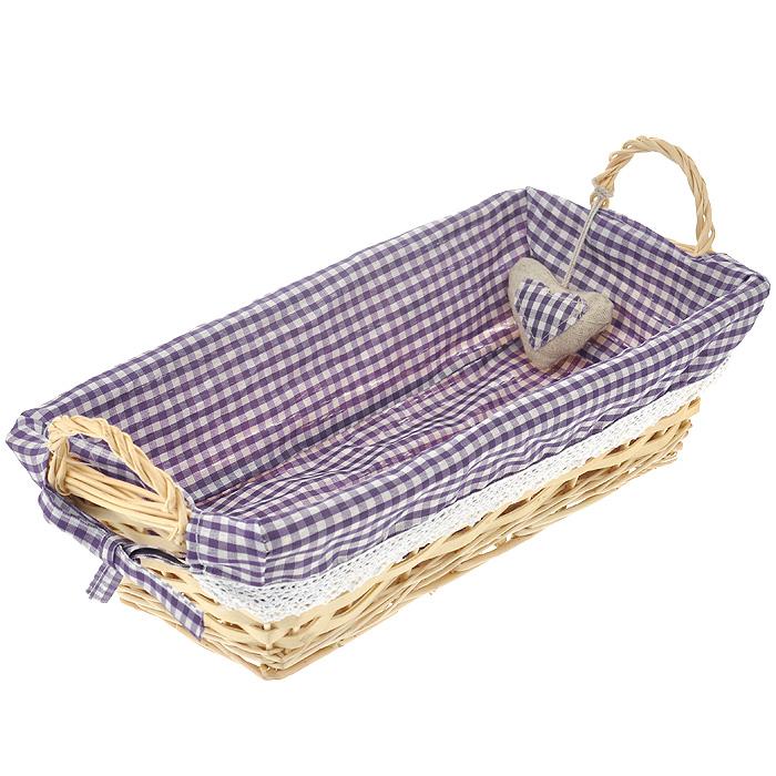 Корзинка для хлеба Premier Housewares, прямоугольная, цвет: фиолетовый, 35 см х 17 см х 13 см1901055Прямоугольная корзинка для хлеба Premier Housewares сплетена из лозы. На внутреннюю поверхность корзинки надет хлопковый чехол с рисунком в фиолетовую клетку, благодаря ему крошки не просыпаются на стол. Корзинка оснащена двумя удобными ручками и украшена декоративным элементом в виде сердечка.В холодный зимний день приятная цветовая гамма корзинки в сочетании с оригинальным дизайном навевают воспоминания о лете, тем самым способствуя улучшению настроения и полноценному отдыху. Характеристики:Материал: лоза, хлопок. Цвет: фиолетовый. Размер корзинки (с учетом ручек) (Д х Ш х В): 35 см х 17 см х 13 см. Размер корзинки (без учета ручек) (Д х Ш х В): 35 см х 17 см х 9 см. Артикул: 1901055.