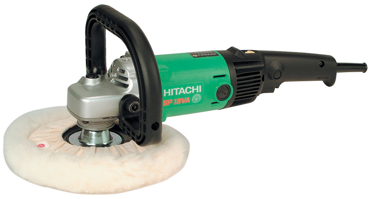Hitachi SP18VA полировальная машина93135341Полировальная машина Hitachi SP18VA - это оборудование для удаления литников и финальной обработки литых деталей из стали, алюминия, бронзы и других металлов. Данный инструмент используется при шлифовке изделий, полученных путем газовой резки, а также сварных узлов. Машина также подходит для полирования мраморных и других поверхностей.Модель оборудована двигателем мощностью 1250 Вт. Меховая насадка может использоваться для полировки чувствительных поверхностей. Для регулирования частоты вращения насадки полировального оборудования применяется клавиша выключателя и специальное регулировочное колесико. Благодаря удобной рукоятке полировальной машины работать с ней комфортно и не утомительно. Инструмент весит всего 2,8 кг и отличается эргономичным дизайном, что обеспечивает простоту его использования, транспортировки и хранения. С помощью плавной кнопки пуска полировальное оборудование легко включается и выключается.Прочный металлический корпус быстро охлаждается, что продлевает срок службы инструмента. Надежную и долгую эксплуатацию машины обеспечивают также металлические опорные втулки подшипников улучшенной конструкции. Полировальная машина оснащена системой защиты от перегрева мотора, что уменьшает риск возникновения аварийных ситуаций.Резьба шпинделя: M14x2Габаритная длина: 415 ммВыбор числа оборотов: 600/1100/1700/2300/2900/3400 об/минПлавный пуск и защита от перегрузкиПостоянный контроль числа оборотов для получения оптимальной эффективности шлифовки/полировкиДва способа изменения числа оборотов: пускатель и дисковый переключатель.