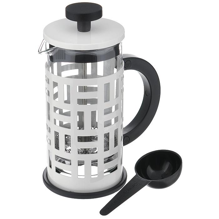 Кофейник Bodum Eileen с прессом, с ложечкой, цвет: белый, 0,35 л11198-913Кофейник Bodum Eileen представляет собой колбу из термостойкого стекла в цельной оправе из окрашенной нержавеющей стали. Оправа защищает хрупкую колбу от толчков и ударов. Кофейник оснащен стальным фильтром french press, который позволяет легко и просто приготовить отличный напиток. Ненагревающаяся ручка кофейника выполнена из пластика. В комплекте небольшая мерная ложечка из черного пластика. Благодаря такому кофейнику приготовление вкуснейшего ароматного и крепкого кофе займет всего пару минут. Профессиональная серия Eileen была задумана и создана в честь великого архитектора и дизайнера - Эйлин Грей (Eileen Gray). При создании серии были особо учтены соображения функционального удобства. Стильный внешний вид и практичность в использовании сделали Eileen чрезвычайно востребованной серией. Характеристики:Материал: нержавеющая сталь, пластик, стекло. Цвет: белый. Объем: 0,35 л. Диаметр кофейника по верхнему краю: 7 см. Высота стенки кофейника: 13,5 см. Длина ложечки: 10 см. Размер упаковки: 12,5 см х 8,5 см х 12 см. Артикул: 11198-913.