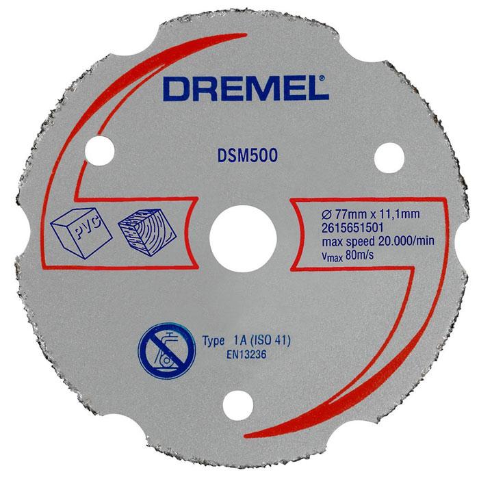 Карбидный отрезной диск Dremel DSM500 для пилы Dremel DSM202615S500JAДиск Dremel DSM500 применяется совместно с компактной пилой DSM20. Диск имеет карбидное покрытие, что делает его очень прочным. Этим твердосплавным кругом можно выполнять как прямые, так и врезные пропилы в мягких материалах: виниле, плексигласе, гипсокартоне, пластике, ДВП, ламинате, фанере, в мягкой и твердой древесине.Рабочий диаметр: 20 мм.Диаметр диска: 77 мм.Максимальная скорость: 80 м/с.Максимальная скорость вращения: 20 000 об/мин.