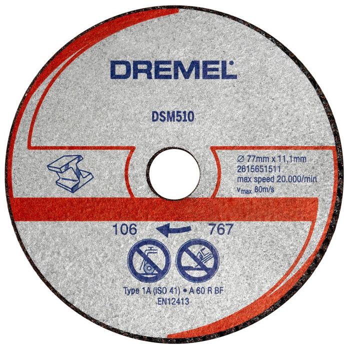 Отрезной диск по металлу Dremel DSM510 для пилы Dremel DSM202615S510JAДиск Dremel DSM510 - это армированный абразивный отрезной круг типа 1, разработанный для резки множества материалов, таких как металл или пластмасса.Рабочий диаметр: 20,0 мм. Диаметр диска: 77 мм.Посадочное отверстие: 11,1 мм.Максимальная скорость: 80 м/с.Максимальная скорость вращения: 20 000 об/м.