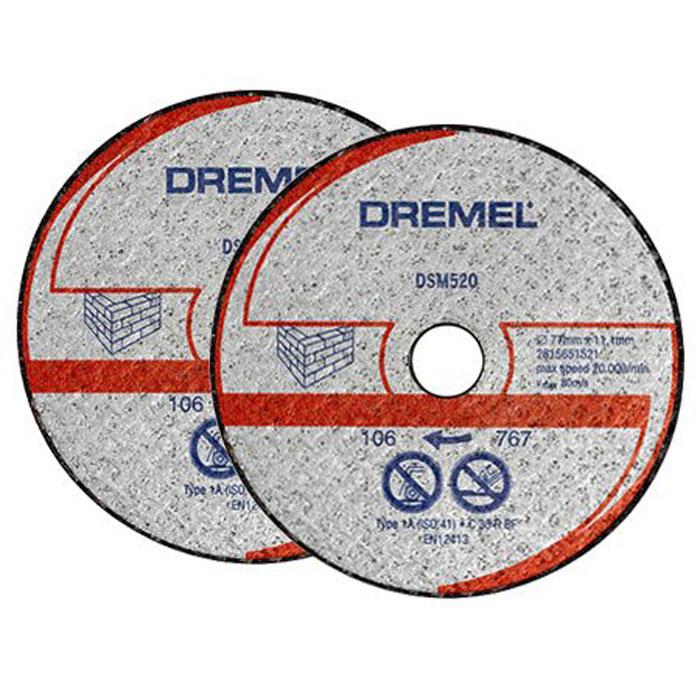 Отрезной диск по бетону Dremel DSM520 для Dremel DSM20, 2 шт2615S520JAДиск Dremel DSM520 - это армированный абразивный отрезной круг типа 1, предназначенный для резки камня и бетона.Рабочий диаметр: 20 мм.Диаметр диска: 77 мм.Посадочное отверстие: 11,1 мм.Максимальная скорость: 80 м/с.Максимальная скорость вращения: 20 000 об/мин.