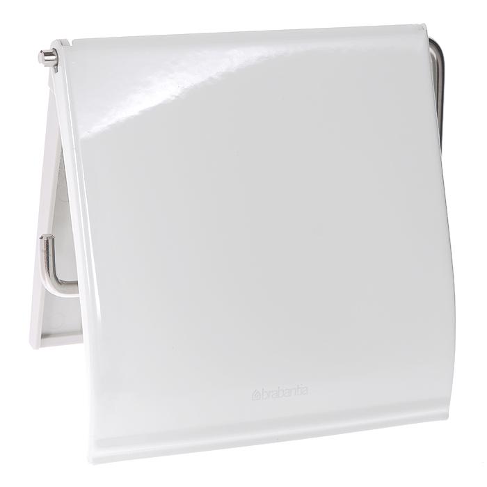 Держатель для туалетной бумаги Brabantia, с крышкой, цвет: белый. 414414Держатель для туалетной бумаги Brabantia изготовлен из высококачественной листовой стали со стойким антикоррозийным покрытием или хромированной стали, поэтому он идеально подходит для использования в ванной и туалете. Пластина крепления выполнена из пластика.Держатель просто монтировать и легко менять рулон.В комплекте фурнитура для монтажа. Характеристики:Материал: полированная сталь, пластик. Цвет: белый. Размер держателя: 12 см х 12,5 см х 1,7 см. Размер упаковки: 13 см х 15,6 см х 1,6 см. Артикул: 414. Гарантия производителя: 5 лет.