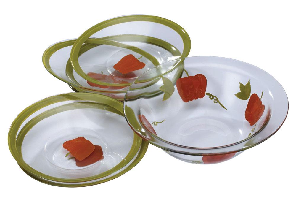 Набор салатников Bekker Перчик, 7 предмета. BK-6708BK-6708Набор Bekker включает в себя семь салатников, выполненных из высококачественного стекла и оформленных изображением красных перчиков. Оригинальность оформления набора придется по вкусу и ценителям классики, и тем, кто предпочитает утонченность и изысканность.Салатники можно мыть в посудомоечной машине. Характеристики:Материал:стекло. Объем большого салатника:1,7 л. Диаметр большого салатника по верхнему краю:27,5 см. Высота большого салатника:8,5 см. Диаметр маленьких салатников по верхнему краю:22,5 см. Высота маленьких салатников:4 см. Комплектация:7 шт.