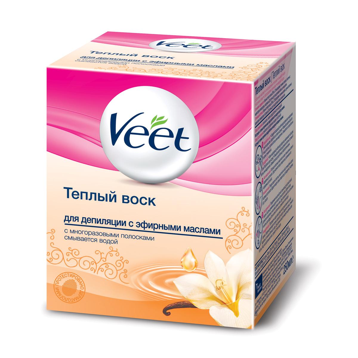 Veet Теплый воск для эпиляции, с эфирными маслами, 250 млBNC 90383Теплый воск Veet для эпиляции содержит эфирные масла. Благодаря формуле, основанной на натуральных ингредиентах, воск удаляет волосы с первого раза и оставляет вашу кожу увлажненной. Ваша кожа нежная и гладкая до 4 недель. Способ применения: Нагрейте воск в течение 40 секунд в микроволновой печи или 10 минут в кипящей воде. Температурный индикатор, на конце лопаточки, сообщит, если воск слишком горячий. Наносите воск при помощи удобной лопаточки подходящей для различных участков тела. Остатки воска смойте водой. В набор входят:баночка с воском, 12 многоразовых тканевых полосок, лопаточка, инструкция по применению.Объем воска: 250 мл.Товар сертифицирован.