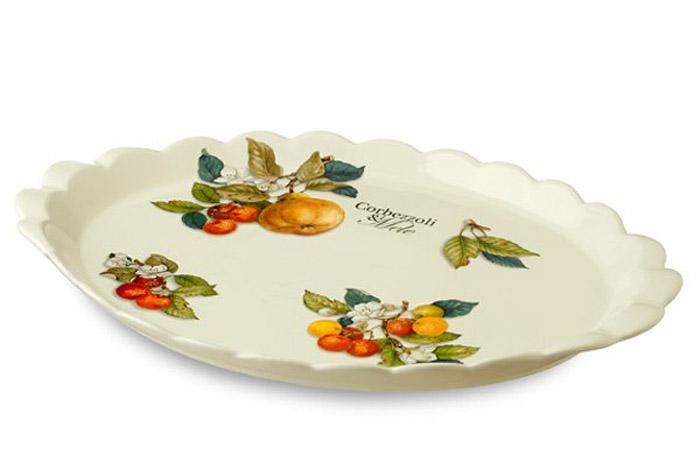 Блюдо Nuova Cer Итальянские фрукты, 39 х 27 х 3 смNC7426-CEM-ALОригинальное блюдо Nuova Cer Итальянские фрукты, выполненное из высококачественной керамики, оформлено нежным рисунком. Данное блюдо сочетает в себе оригинальный дизайн с максимальной функциональностью, оно отлично подойдет для подачи закусок, сладостей или фруктов.Размер блюда: 39 х 27 х 3 см.Посуду фабрики Nuova Cer S.N.C отличают теплые оттенки и верность истинно итальянскому стилю. Для итальянского стиля характерна довольно толстая, нарочито простая керамическая посуда с красочной, яркой глазурью, с наивной росписью и орнаментами. Такую посуду можно использовать в микроволновой печи и мыть в посудомоечной машине.