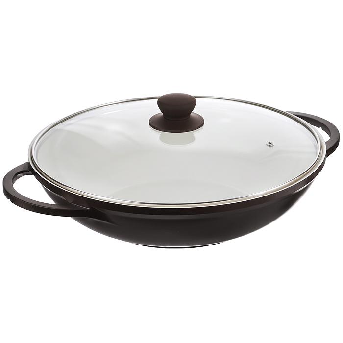 """Казан """"Mayer & Boch"""", изготовленный из керамики, идеально подходит для приготовления вкусных тушеных блюд. Он имеет внешнее темно-коричневое и внутреннее кремовое эмалевое покрытие. Сковорода с керамическим покрытием предназначена для здорового и экологичного приготовления пищи. Гладкая и высококачественная поверхность легко чистится: ее можно мыть в воде руками или вытирать полотенцем. Казан оснащен двумя удобными ручками из нержавеющей стали. Крышка изготовлена из жаропрочного стекла и оснащена отверстием для выпуска пара и металлическим ободом. Такая крышка позволяет следить за процессом приготовления пищи без потери тепла. Она плотно прилегает к краю казана, сохраняя аромат блюд. Казан можно использовать на всех типах плит, включая индукционные. Можно мыть в посудомоечной машине и хранить в холодильнике.   Наслаждайтесь приготовлением пищи в вашей керамической сковороде. Характеристики: Материал: керамика, эмаль, силикон, стекло, нержавеющая сталь. Объем: 3 л. Внутренний диаметр: 32 см. Высота стенки: 8 см. Толщина стенки: 0,25 см. Толщина дна: 0,5 см. Ширина казана с учетом ручек: 41,5 см. Размер упаковки: 37 см х 35 см х 10 см. Артикул: 22210 темно-коричневый."""