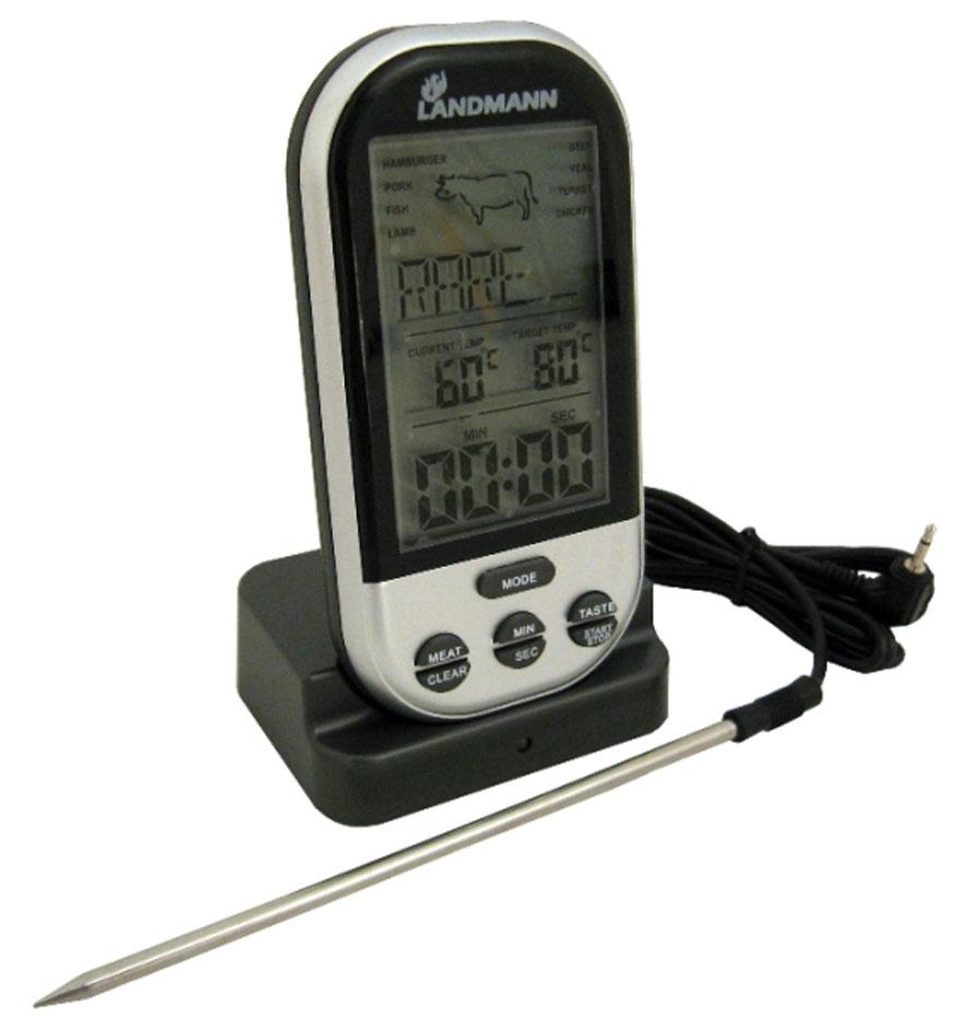 Беспроводной термометр Landmann. 1362513625Радио-термометр Landmann дает информацию о температуре продукта в процессе приготовления и готовности блюда. Радиус приёма сигнала от датчика до термометра составляем до 30 м. Имеет настройки на 5 уровней жарки и 8 видов мяса. Удобный большой дисплей из высококачественного ABS-пластика. Имеет функцию настройки шкалы максимально допустимой температуры с функцией оповещения. Секундомер с последовательным и обратным отсчётом времени с функцией стопа и оповещения. Характеристики: Материал: пластик, металл. Размер: 11,5 см х 6 см х 2,5 см. Радиус приема сигнала: 30 м. Питание: 4 AAA (не входят в комплект). Артикул: 13625.