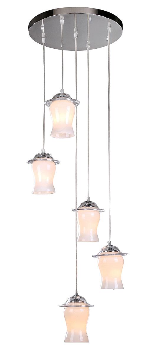 Подвесной светильник ST-Luce SL702.103.05SL702.103.05Хром+Белое стекло, E14 5*40W 220V/50Hz