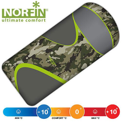 Мешок-одеяло спальный Norfin Scandic Comfort Plus 350 NC, R, цвет: камуфляж, правосторонняя молния