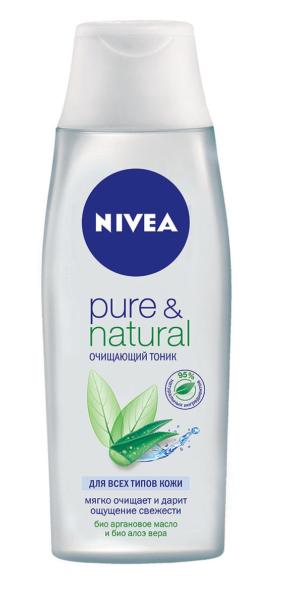 NIVEA Очищающий тоник Pure &Natural 200 мл1002077Очищающий тоник Nivea Visage Pure & Natural предназначендля всех типов кожи. Тоник с аргановым маслом и алое вера глубоко очищает кожу, не пересушивая ее. Характеристики:Объем: 200 мл. Производитель: Германия. Артикул: 81187. Товар сертифицирован.