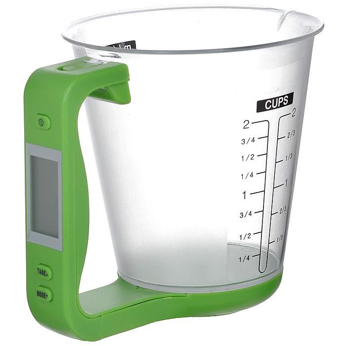 Весы-чашка электронные Bradex Абсолют, цвет: зеленыйTK 0016Электронные весы Bradex Абсолют выполнены из прочного пластика в виде мерного стаканчика. На стенки весов нанесены шкалы измерения в миллилитрах, унциях и чашках. Электронный дисплей расположен на ручке чашки. Также на ручке расположена кнопка включения/выключения, и кнопки управления TARE и MODE.Весы необходимы на любой кухне, когда для приготовления блюд обязательно требуется придерживаться четких пропорций, указанных в рецепте.Bradex Абсолют производит точное взвешивание 5 типов продуктов и ингредиентов (вода, молоко, мука, сахар, масло), измеряя массу непосредственно самого продукта без учета тары. Также вы сможете взвесить сразу несколько ингредиентов, притом получая измерения каждого продукта в отдельности.Одна из дополнительных функций весов-чашки - это измерение температуры взвешиваемого продукта (конвертирование в градусы по шкале Цельсия и Фаренгейта).Другое удобство заключено том, что чашка отсоединяется от измеряющей платформы с ручкой, благодаря чему значительно облегчается процесс мытья. Характеристики: Материал: пластик, металл. Общий размер весов: 16 см х 12 см х 13,5 см. Диаметр чаши по верхнему краю: 12 см. Высота стенки чаши: 12 см. Диапазон измерения веса: 0 г - 1000 г. Диапазон измерения температур: от -40°С до 120°С. Размер упаковки: 18 см х 14 см х 14 см. Артикул: TK 0016. Весы работают от 1 батарейки мощностью 3V типа CR2032 (входит в комплект).