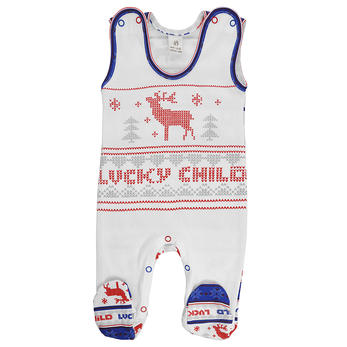 Ползунки с грудкой Lucky Child, цвет: молочный, красный, синий. 10-2. Размер 80/86 пижама для девочки lucky child цвет кремовый желтый оранжевый 12 402 размер 80 86
