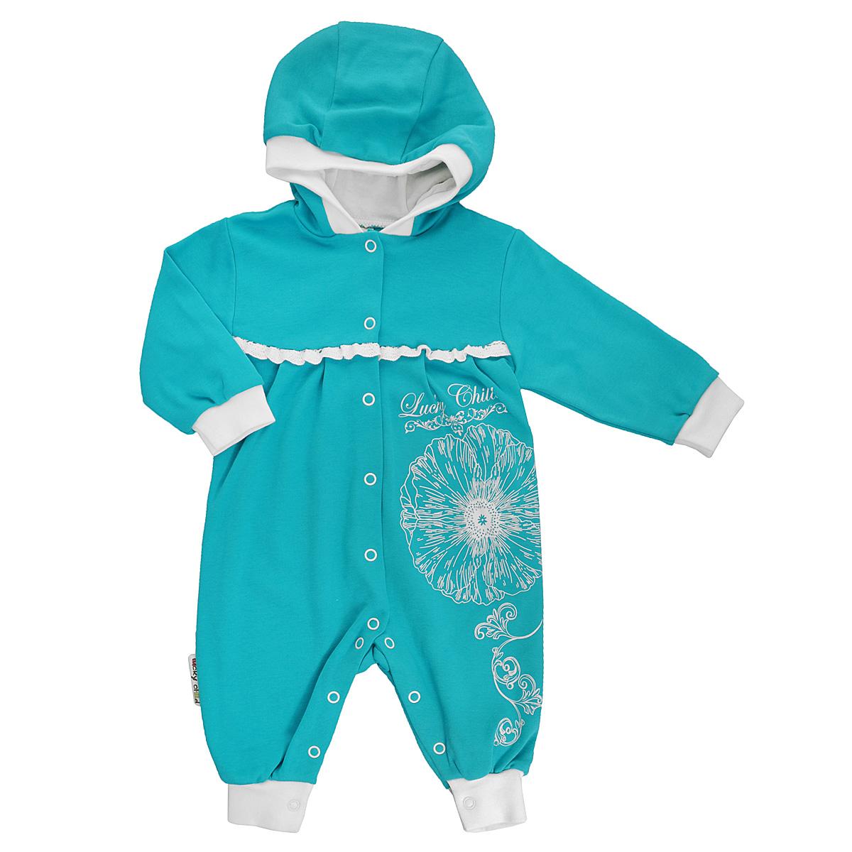 Комбинезон для девочки Lucky Child, цвет: бирюзовый, молочный. 14-3. Размер 74/8014-3Детский комбинезон для девочки Lucky Child - очень удобный и практичный вид одежды для малышей. Комбинезон выполнен из натурального хлопка, благодаря чему он необычайно мягкий и приятный на ощупь, не раздражает нежную кожу ребенка и хорошо вентилируется, а эластичные швы приятны телу малышки и не препятствуют ее движениям. Комбинезон с капюшоном, длинными рукавами и открытыми ножками имеет застежки-кнопки от горловины и по всей длине, которые помогают легко переодеть младенца или сменить подгузник. Низ рукавов и низ штанин дополнены широкими трикотажными манжетами. На груди модель украшена ажурными рюшами. Оформлена модель оригинальны принтом в виде цветка, узоров и принтовой надписью с названием бренда. С детским комбинезоном Lucky Child спинка и ножки вашей малышки всегда будут в тепле, он идеален для использования днем и незаменим ночью. Комбинезон полностью соответствует особенностям жизни младенца в ранний период, не стесняя и не ограничивая его в движениях!