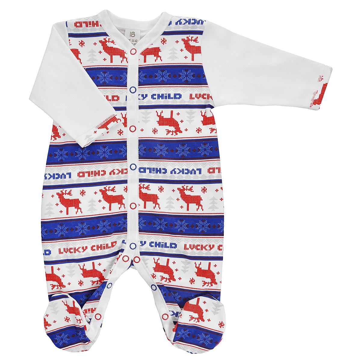 Комбинезон детский Lucky Child, цвет: молочный, синий, красный. 10-1_легкий. Размер 56/6210-1_легкийДетский комбинезон Lucky Child Скандинавия - очень удобный и практичный вид одежды для малышей. Комбинезон выполнен из натурального хлопка, благодаря чему он необычайно мягкий и приятный на ощупь, не раздражает нежную кожу ребенка и хорошо вентилируется, а эластичные швы приятны телу малыша и не препятствуют его движениям. Комбинезон с длинными рукавами и закрытыми ножками имеет застежки-кнопки от горловины до щиколоток, которые помогают легко переодеть младенца или сменить подгузник. Оформлена модель модным скандинавским принтом. С детским комбинезоном Lucky Child спинка и ножки вашего малыша всегда будут в тепле, он идеален для использования днем и незаменим ночью. Комбинезон полностью соответствует особенностям жизни младенца в ранний период, не стесняя и не ограничивая его в движениях!