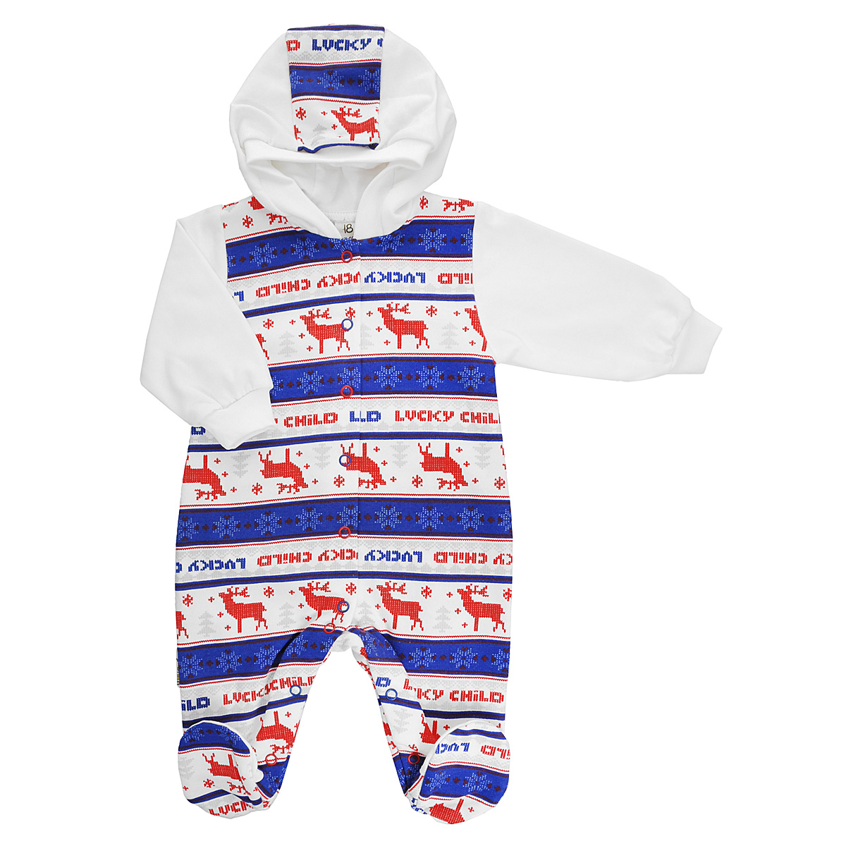 Комбинезон детский Lucky Child, цвет: молочный, синий, красный. 10-3. Размер 74/8010-3Детский комбинезон Lucky Child - очень удобный и практичный вид одежды для малышей. Комбинезон выполнен из натурального хлопка, благодаря чему он необычайно мягкий и приятный на ощупь, не раздражает нежную кожу ребенка и хорошо вентилируется, а эластичные швы приятны телу малыша и не препятствуют его движениям. Лицевая сторона гладкая, а изнаночная - с мягким теплым начесом. Комбинезон с капюшоном, длинными рукавами и закрытыми ножками имеет застежки-кнопки от горловины до щиколоток, которые помогают легко переодеть младенца или сменить подгузник. Рукава дополнены широкими трикотажными манжетами, не сжимающими запястья ребенка. Оформлена модель модным скандинавским принтом. С детским комбинезоном Lucky Child спинка и ножки вашего малыша всегда будут в тепле, он идеален для использования днем и незаменим ночью. Комбинезон полностью соответствует особенностям жизни младенца в ранний период, не стесняя и не ограничивая его в движениях!