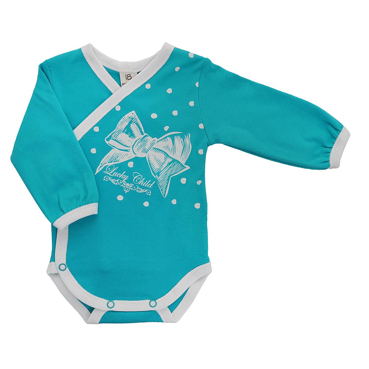 Боди для девочки Lucky Child, цвет: бирюзовый, молочный. 14-5. Размер 80/86 пижама для девочки lucky child цвет серо фиолетовый розовый 12 403 размер 80 86