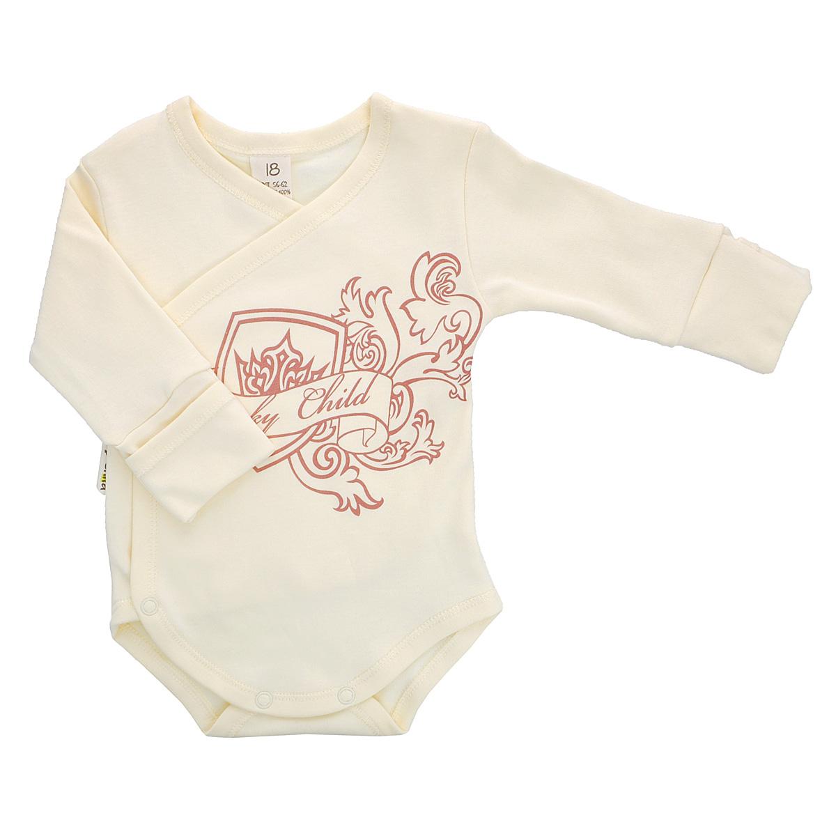 Боди детское Lucky Child, цвет: экрю. 6-5. Размер 62/686-5Детское боди Lucky Child с запахом и длинными рукавами послужит идеальным дополнением к гардеробу младенца, обеспечивая ему наибольший комфорт. Боди изготовлено из натурального хлопка, благодаря чему оно необычайно мягкое и легкое, не раздражает нежную кожу ребенка и хорошо вентилируется, а эластичные швы приятны телу ребенка и не препятствуют его движениям. Удобные застежки-кнопки по правому боку и на ластовице помогают легко переодеть младенца и сменить подгузник. Рукава дополнены широкими манжетами. Благодаря рукавичкам ребенок не поцарапает себя. Оформлено боди оригинальным принтом.Боди полностью соответствует особенностям жизни малыша в ранний период, не стесняя и не ограничивая его в движениях. В нем ваш ребенок всегда будет в центре внимания.